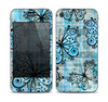 The Vibrant Blue Butterfly Plaid Skin for the Apple iPhone 4-4s