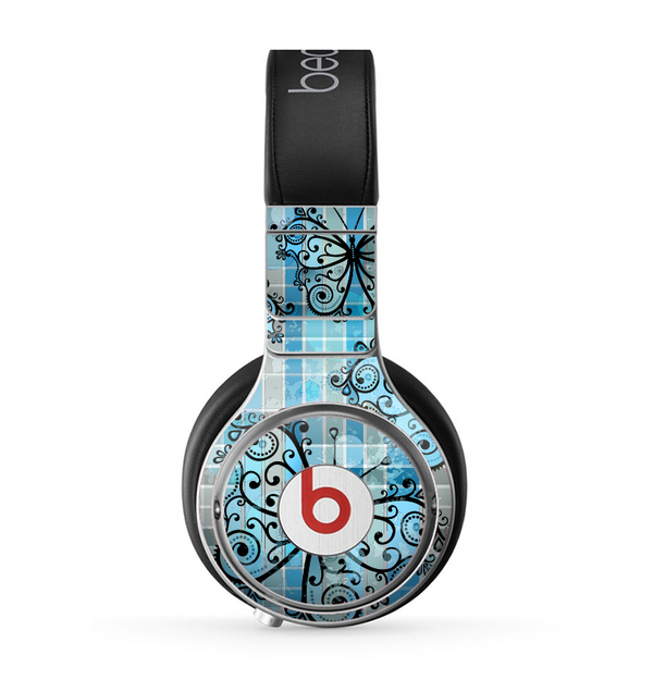 The Vibrant Blue Butterfly Plaid Skin for the Beats by Dre Pro Headphones
