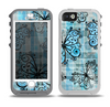 The Vibrant Blue Butterfly Plaid Skin for the iPhone 5-5s OtterBox Preserver WaterProof Case