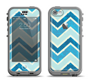 The Vibrant Blue Vintage Chevron V3 Apple iPhone 5c LifeProof Nuud Case Skin Set