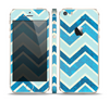 The Vibrant Blue Vintage Chevron V3 Skin Set for the Apple iPhone 5s