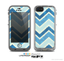 The Vibrant Blue Vintage Chevron V3 Skin for the Apple iPhone 5c LifeProof Case