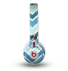 The Vibrant Blue Vintage Chevron V3 Skin for the Beats by Dre Mixr Headphones
