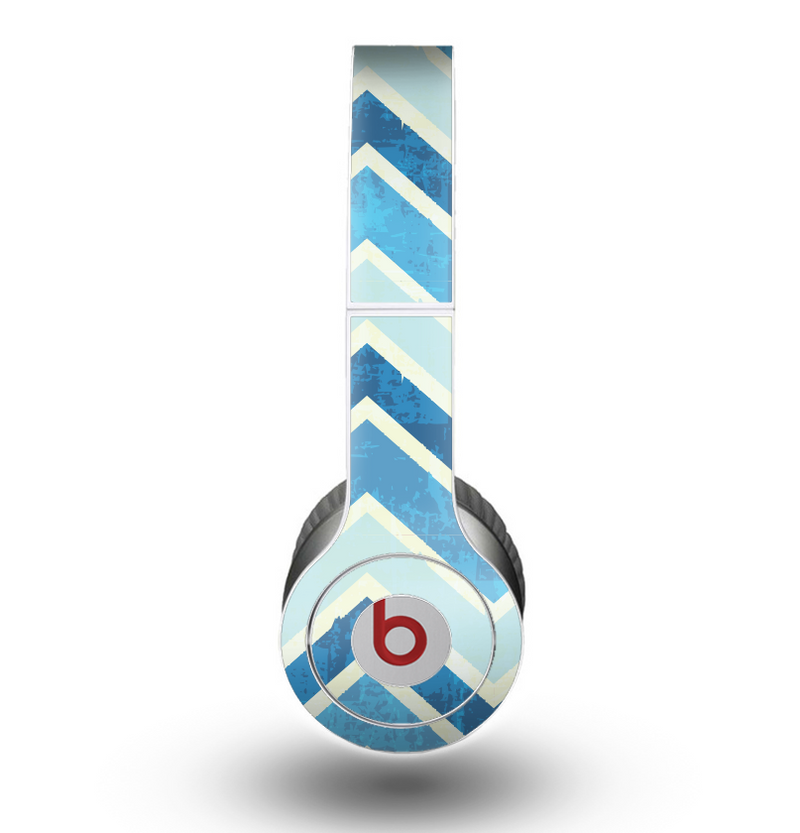 The Vibrant Blue Vintage Chevron V3 Skin for the Beats by Dre Original Solo-Solo HD Headphones