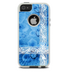 The Vibrant Blue & White Floral Lace Skin For The iPhone 5-5s Otterbox Commuter Case