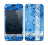 The Vibrant Blue & White Floral Lace Skin for the Apple iPhone 4-4s