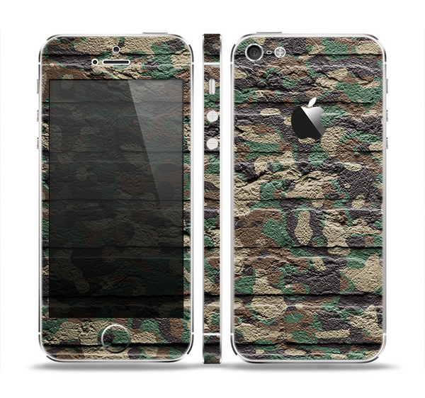 The Vibrant Brick Camouflage Wall Skin Set for the Apple iPhone 5