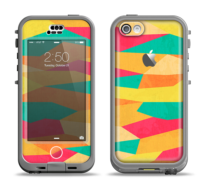The Vibrant Bright Colored Connect Pattern Apple iPhone 5c LifeProof Nuud Case Skin Set