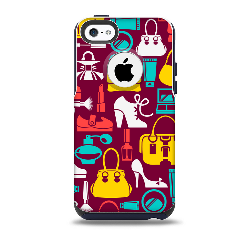 The Vibrant Burgundy Vector Shopping Skin for the iPhone 5c OtterBox Commuter Case