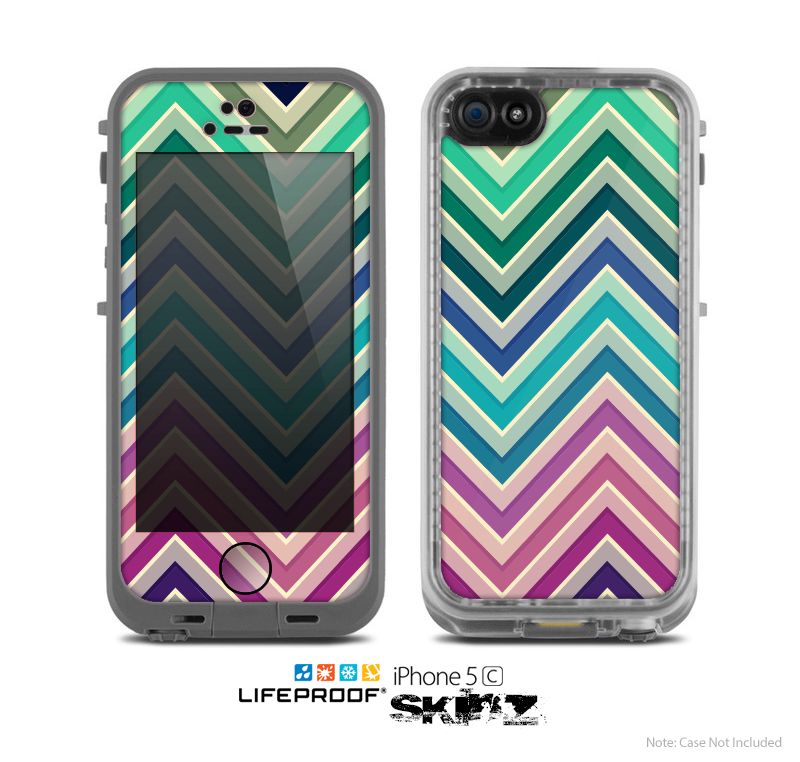 The Vibrant Colored Chevron Layered V4 Skin for the Apple iPhone 5c LifeProof Case