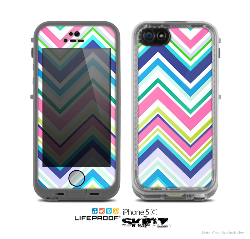 The Vibrant Colored Chevron Pattern V3 Skin for the Apple iPhone 5c LifeProof Case