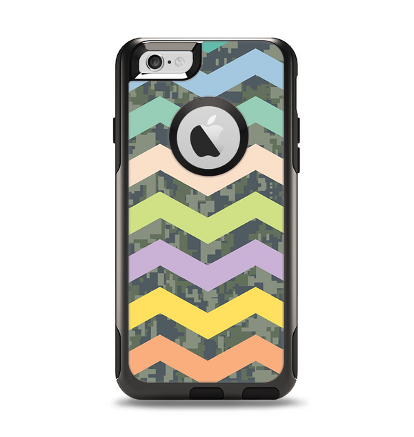 The Vibrant Colored Chevron With Digital Camo Background Apple iPhone 6 Otterbox Commuter Case Skin Set