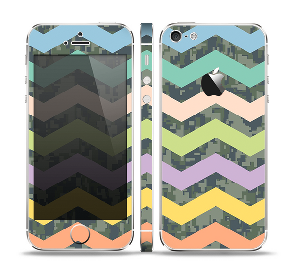 The Vibrant Colored Chevron With Digital Camo Background Skin Set for the Apple iPhone 5