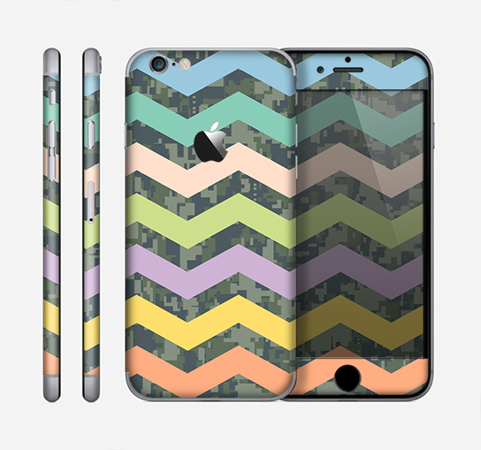 The Vibrant Colored Chevron With Digital Camo Background Skin for the Apple iPhone 6
