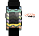 The Vibrant Colored Chevron With Digital Camo Background Skin for the Pebble SmartWatch
