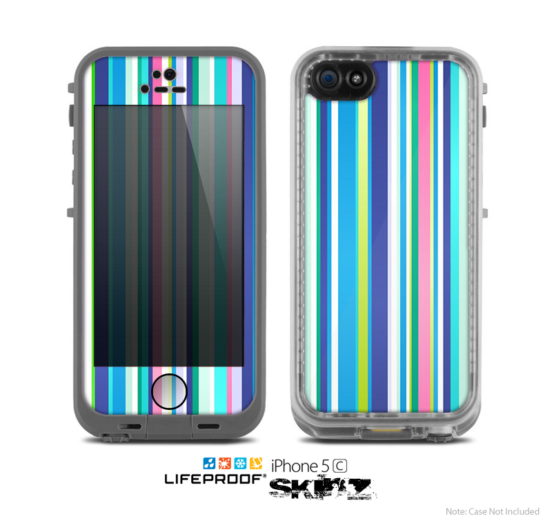 The Vibrant Colored Stripes Pattern V3 Skin for the Apple iPhone 5c LifeProof Case