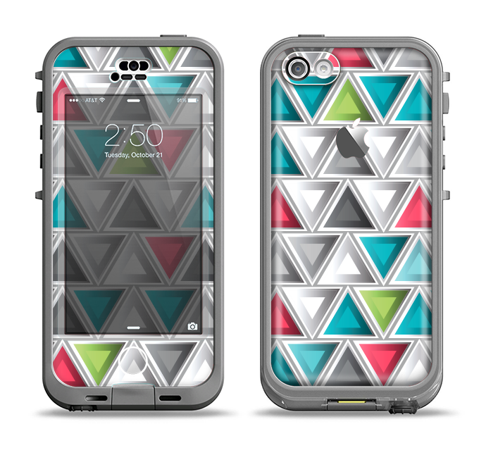The Vibrant Colored Triangled 3d Shapes Apple iPhone 5c LifeProof Nuud Case Skin Set