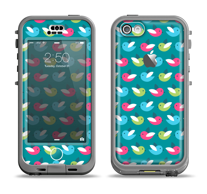 The Vibrant Colored Vector Bird Collage Apple iPhone 5c LifeProof Nuud Case Skin Set