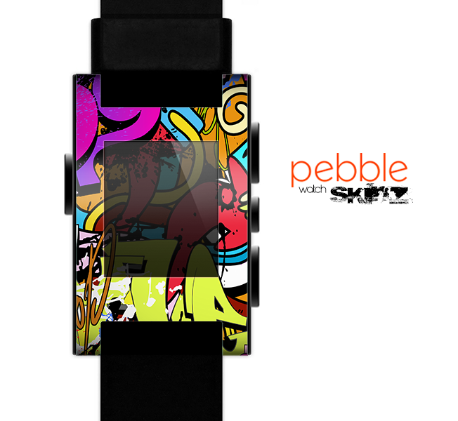 The Vibrant Colored Vector Graffiti Skin for the Pebble SmartWatch