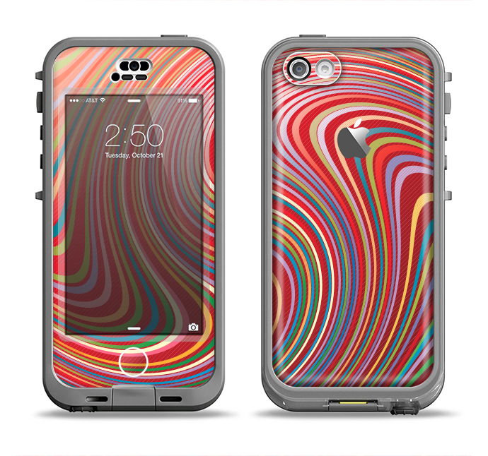 The Vibrant Colorful Swirls Apple iPhone 5c LifeProof Nuud Case Skin Set