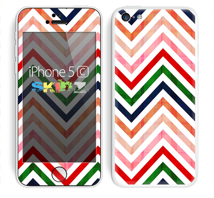 The Vibrant Fall Colored Chevron Pattern Skin for the Apple iPhone 5c