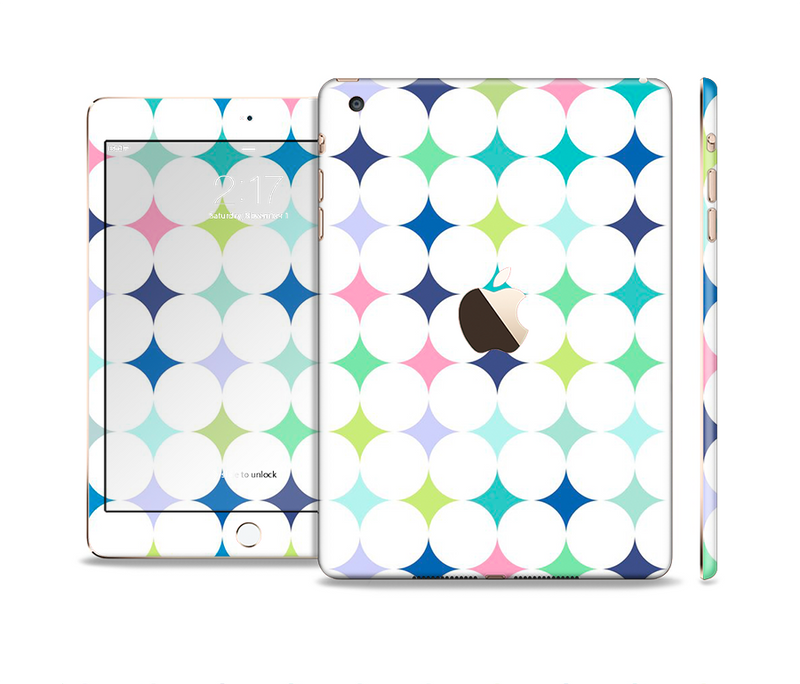 The Vibrant Fun Colored Pattern Hoops Inverted Polka Dot Full Body Skin Set for the Apple iPad Mini 3