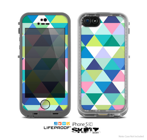 The Vibrant Fun Colored Triangular Pattern Skin for the Apple iPhone 5c LifeProof Case