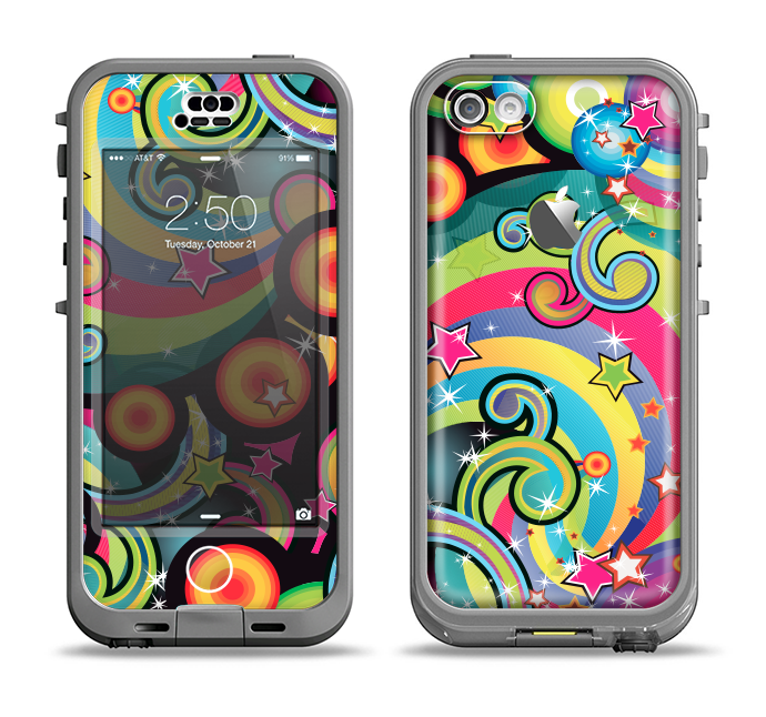 The Vibrant Fun Sprouting Shapes Apple iPhone 5c LifeProof Nuud Case Skin Set