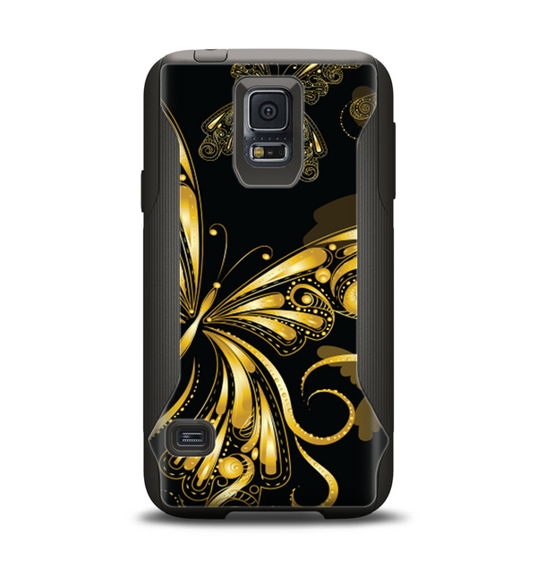 The Vibrant Gold Butterfly Outline Samsung Galaxy S5 Otterbox Commuter Case Skin Set
