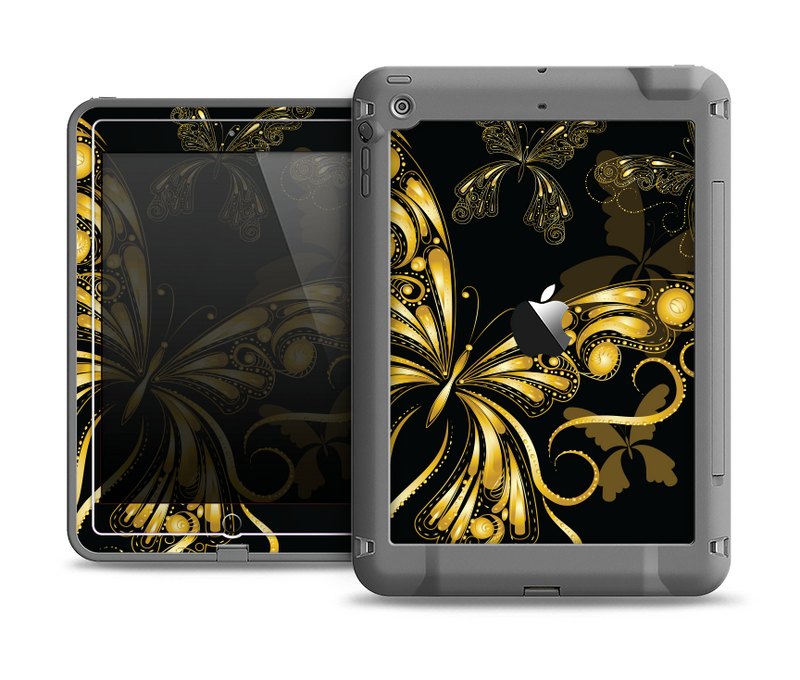 The Vibrant Gold Butterfly Outline Apple iPad Air LifeProof Fre Case Skin Set