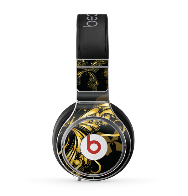 The Vibrant Gold Butterfly Outline Skin for the Beats by Dre Pro Headphones