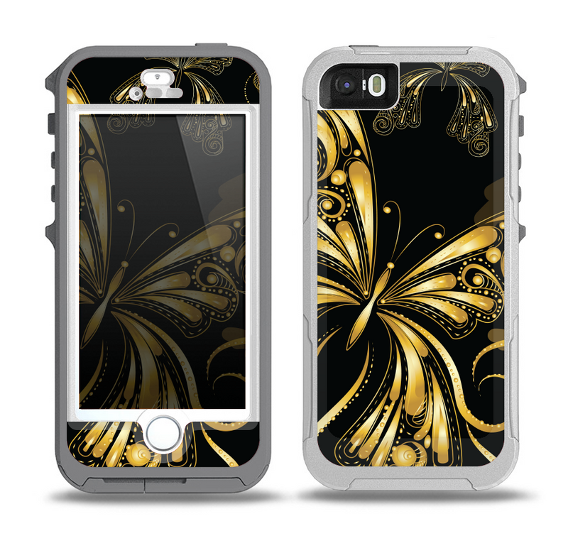 The Vibrant Gold Butterfly Outline Skin for the iPhone 5-5s OtterBox Preserver WaterProof Case