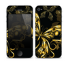 The Vibrant Gold Butterfly Outline copy Skin for the Apple iPhone 4-4s