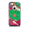 The Vibrant Green & Coral Floral Sketched Skin for the iPhone 5c OtterBox Commuter Case