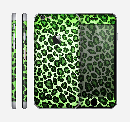 The Vibrant Green Leopard Print Skin for the Apple iPhone 6