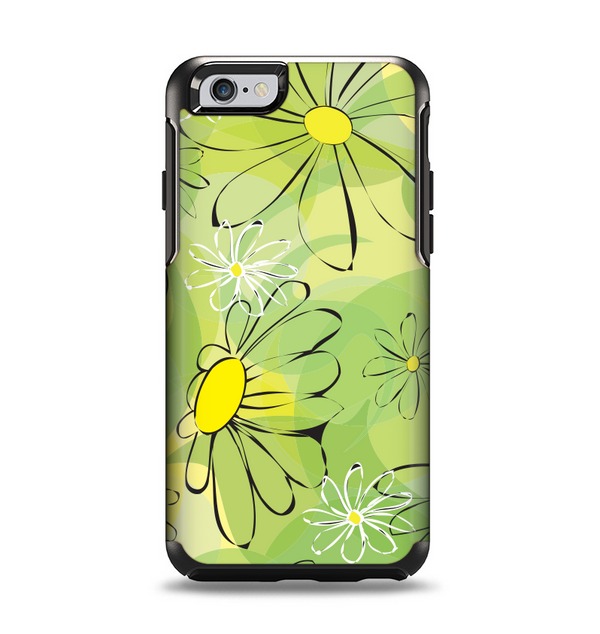 The Vibrant Green Outlined Floral Apple iPhone 6 Otterbox Symmetry Case Skin Set