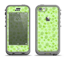 The Vibrant Green Paw Prints Apple iPhone 5c LifeProof Nuud Case Skin Set