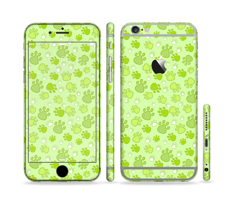 The Vibrant Green Paw Prints Sectioned Skin Series for the Apple iPhone 6s