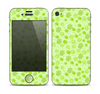 The Vibrant Green Paw Prints Skin for the Apple iPhone 4-4s