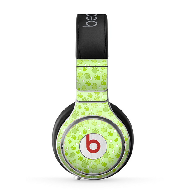 The Vibrant Green Paw Prints Skin for the Beats by Dre Pro Headphones