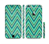 The Vibrant Green Sharp Chevron Pattern Sectioned Skin Series for the Apple iPhone 6 Plus