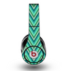 The Vibrant Green Sharp Chevron Pattern Skin for the Original Beats by Dre Studio Headphones