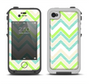 The Vibrant Green Vintage Chevron Pattern Apple iPhone 4-4s LifeProof Fre Case Skin Set