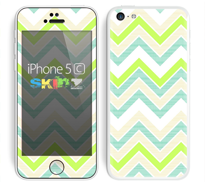 The Vibrant Green Vintage Chevron Pattern Skin for the Apple iPhone 5c