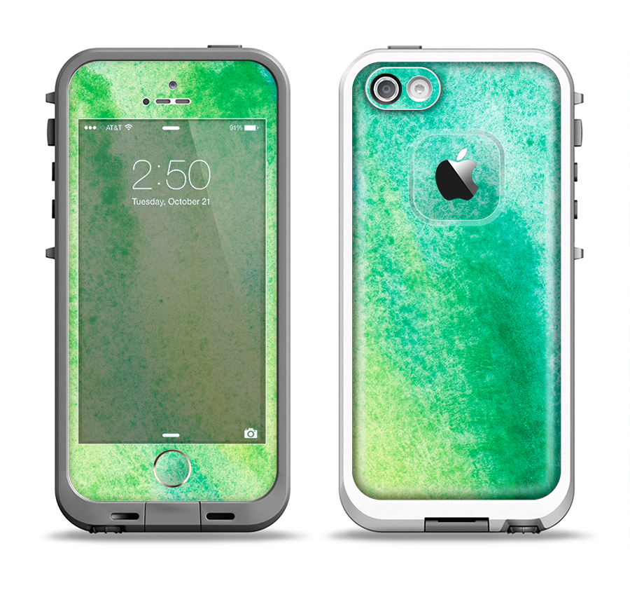 the latest 50ad1 1098a The Vibrant Green Watercolor Panel Apple iPhone 5-5s LifeProof Fre Case  Skin Set