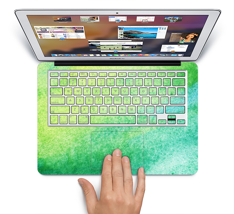 "The Vibrant Green Watercolor Panel Skin Set for the Apple MacBook Pro 15"" with Retina Display"
