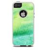 The Vibrant Green Watercolor Panel Skin For The iPhone 5-5s Otterbox Commuter Case