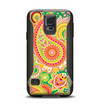 The Vibrant Green and Pink Paisley Pattern Samsung Galaxy S5 Otterbox Commuter Case Skin Set