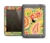 The Vibrant Green and Pink Paisley Pattern Apple iPad Air LifeProof Fre Case Skin Set