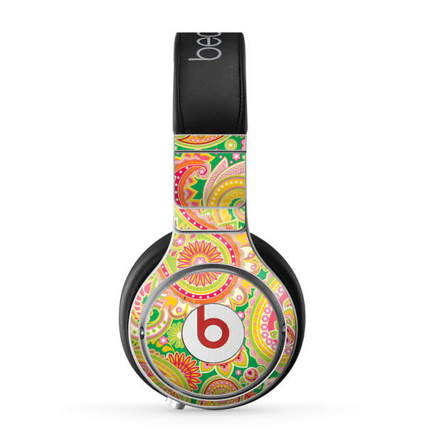 The Vibrant Green and Pink Paisley Pattern Skin for the Beats by Dre Pro Headphones